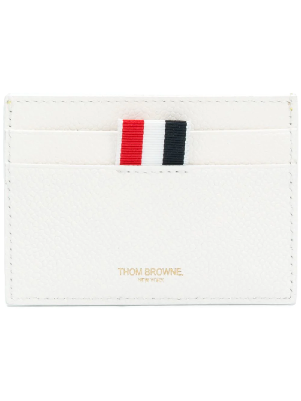 Thom Browne Single Card Holder With Tennis Ball Intarsia In Pebble Grain & Calf Leather In White,blue,geometric Print