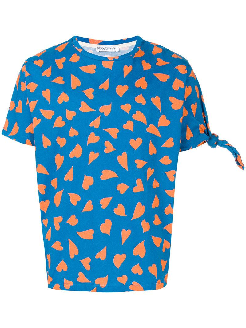 Jw Anderson J.w. Anderson Printed Hearts T-shirt In Blue