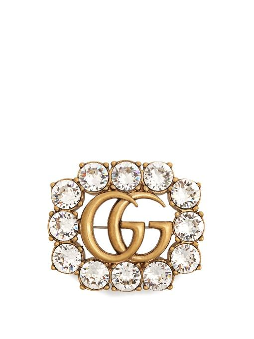 661c1846368 Gucci Gold Gg Crystal Marmont Brooch