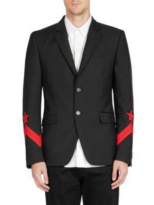 Givenchy Star-AppliquÉD Wool-Mohair Two-Button Sportcoat In Black Red