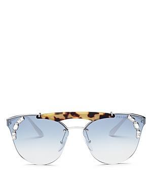 740e7d839816 Prada Mirrored Brow Bar Round Embellished Sunglasses, 42Mm In Silver/Medium  Havana/Light