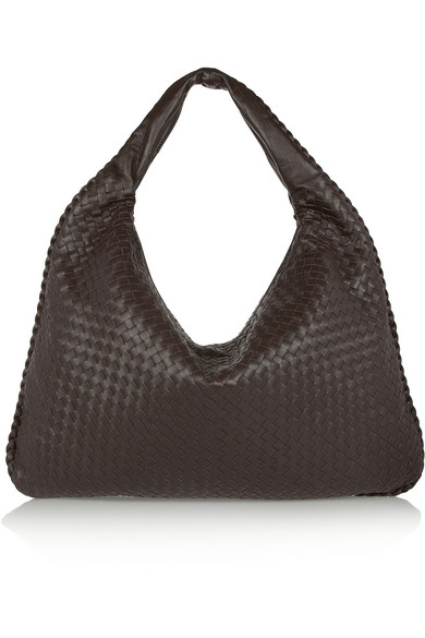 Bottega Veneta Maxi Veneta Intrecciato Leather Shoulder Bag In Dark Brown