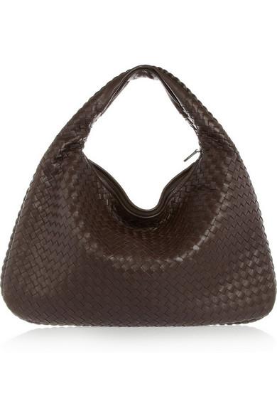 Bottega Veneta Veneta Large Intrecciato Leather Shoulder Bag In Dark Brown