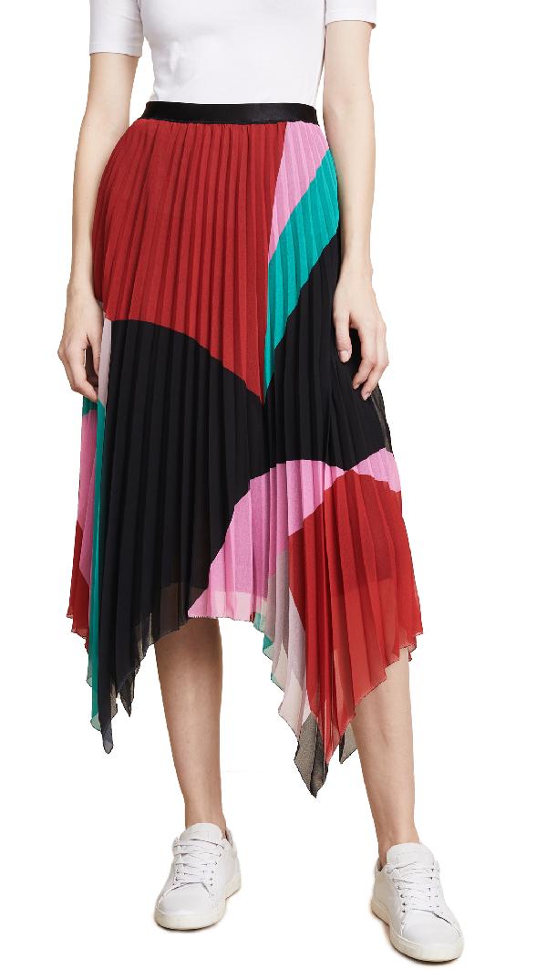 453a7b229 Joie Dashiella Colorblocked Pleated Asymmetric Midi Skirt In Multi ...