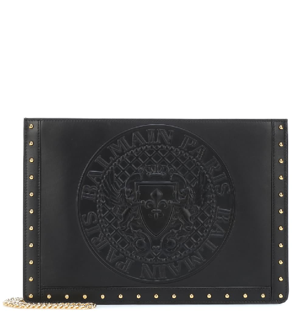 Balmain Mini Domaine Embossed Coin Calfskin Bag - Black