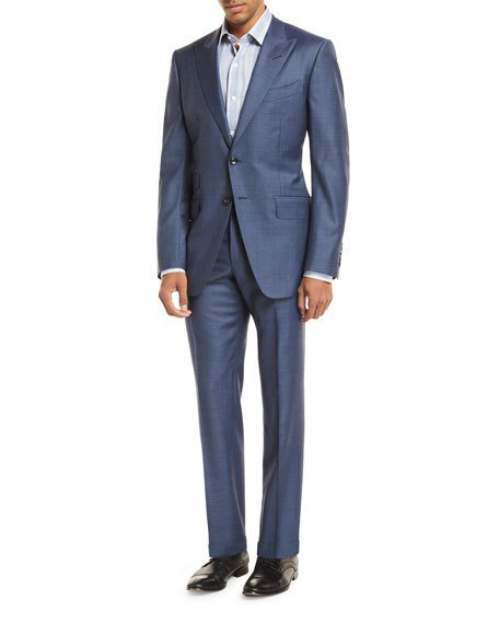 Tom Ford Sharkskin Wool Two-Piece Suit In Light Blue