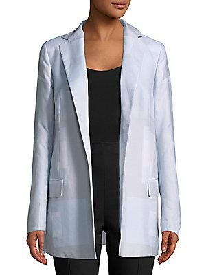 Akris Open Front Cotton Jacket In Anemone