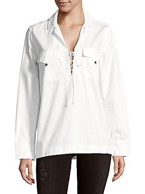 Equipment Lace-Up Cotton Top In Bright White