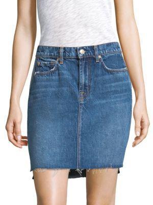 7 For All Mankind Side-Panel A-Line Denim Skirt W/ Raw-Edge Hem In Blue