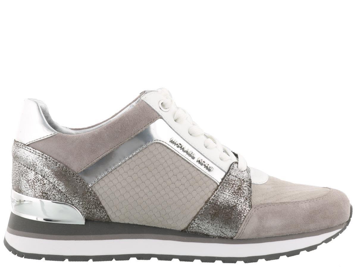 937f255cd805 Michael Kors Billie Trainer Grey Silver Scuba Mesh Sneakers In Pearl  Grey-Silver