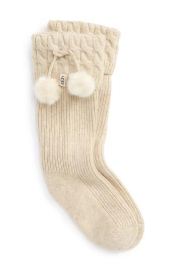 Ugg Pure(tm) Pompom Tall Rain Boot Sock In Cream Heather Wool