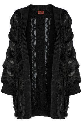 Missoni Woman Metallic Fringe-Trimmed Crochet-Knit Cardigan Black
