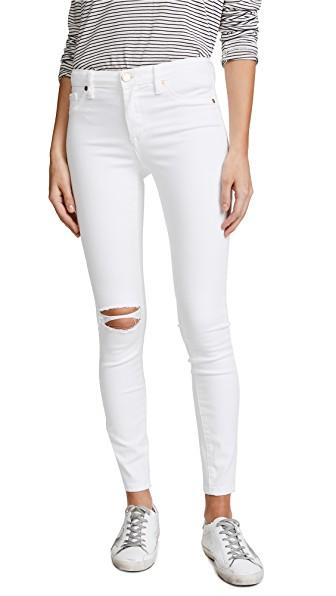 Blank Denim Mid Rise Skinny Ankle Jeans In Great White