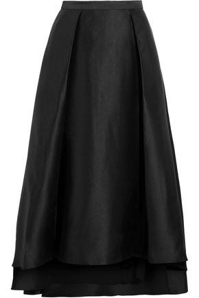 Badgley Mischka Woman Mikado Pleated Crepe De Chine Maxi Skirt Black