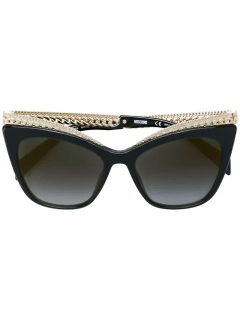 Moschino Mirrored Cat-eye Sunglasses W/ Metal Curb Chain Arms In 807fq