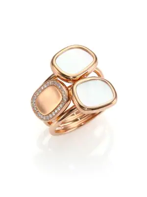 Roberto Coin Mother-of-pearl, Diamond & 18k Rose Gold Three-row Ring