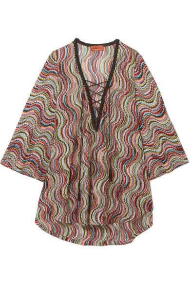 602539856dc49d Missoni Mare Metallic Crochet-Knit Kaftan In Red
