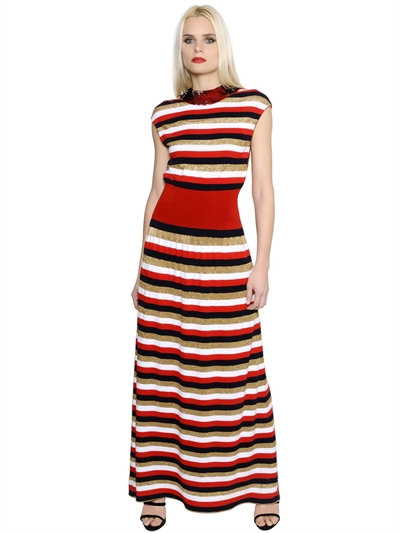 b4e32b5951 Sonia Rykiel Sequin & Lurex Striped Knit Dress In Red/Multi | ModeSens