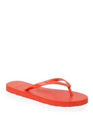 37a25e7c1a6563 Tory Burch Solid Flip Flops In Orange Poppy