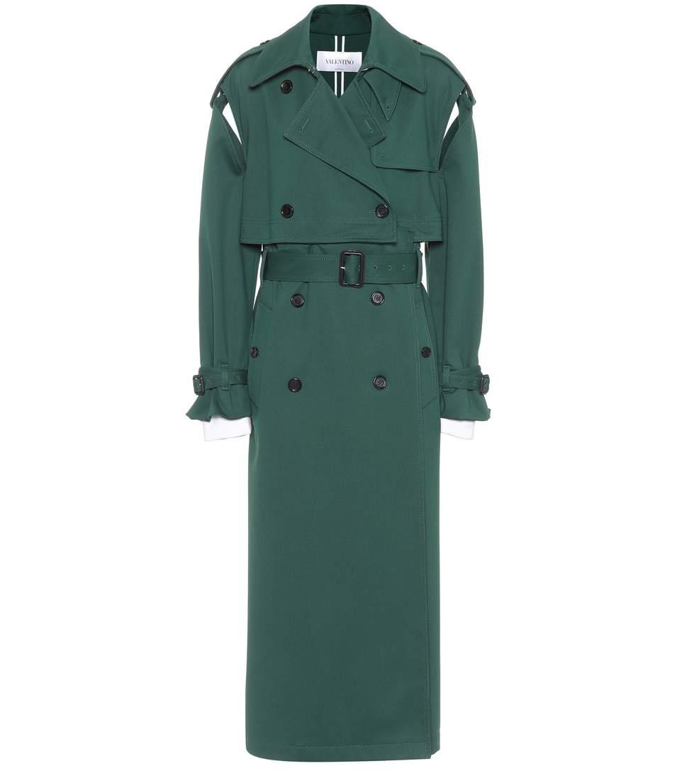 Valentino Jersey Trench Coat In Green