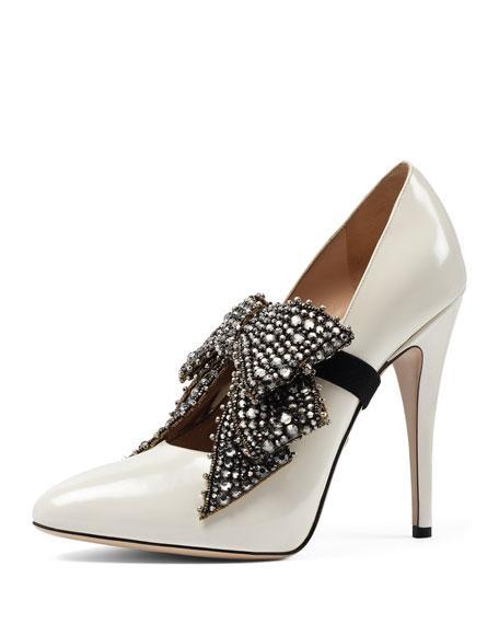 c341a4341247a Gucci Elaisa Crystal Bow Pump, White | ModeSens
