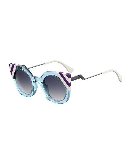 f71dbf6a388 Transparent frame front features striped tips. Square gradient lenses. Adjustable  nose pads. Stepped temples with logo script. Capped temple tips.