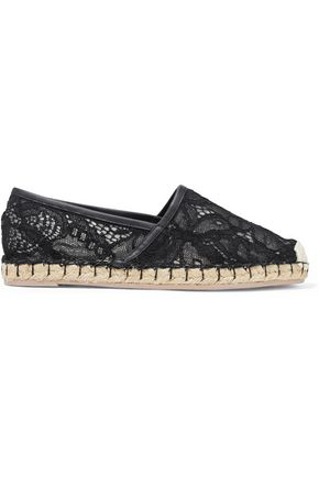 Valentino Woman Leather-Trimmed Corded Lace Espadrilles Black