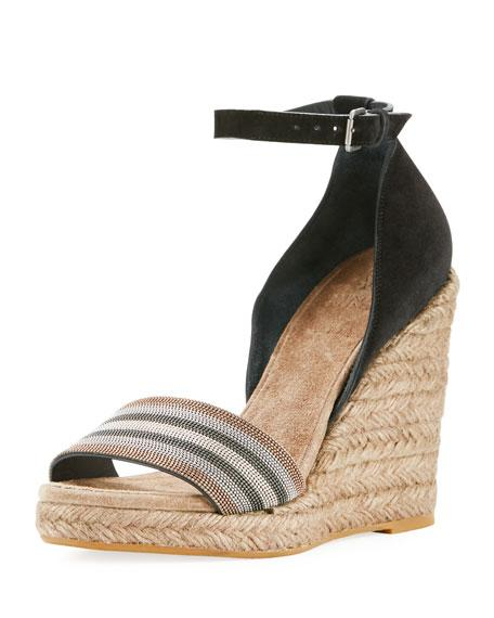 64e521dc438d Brunello Cucinelli Monili-Trimmed Ankle-Strap Espadrille In Black ...