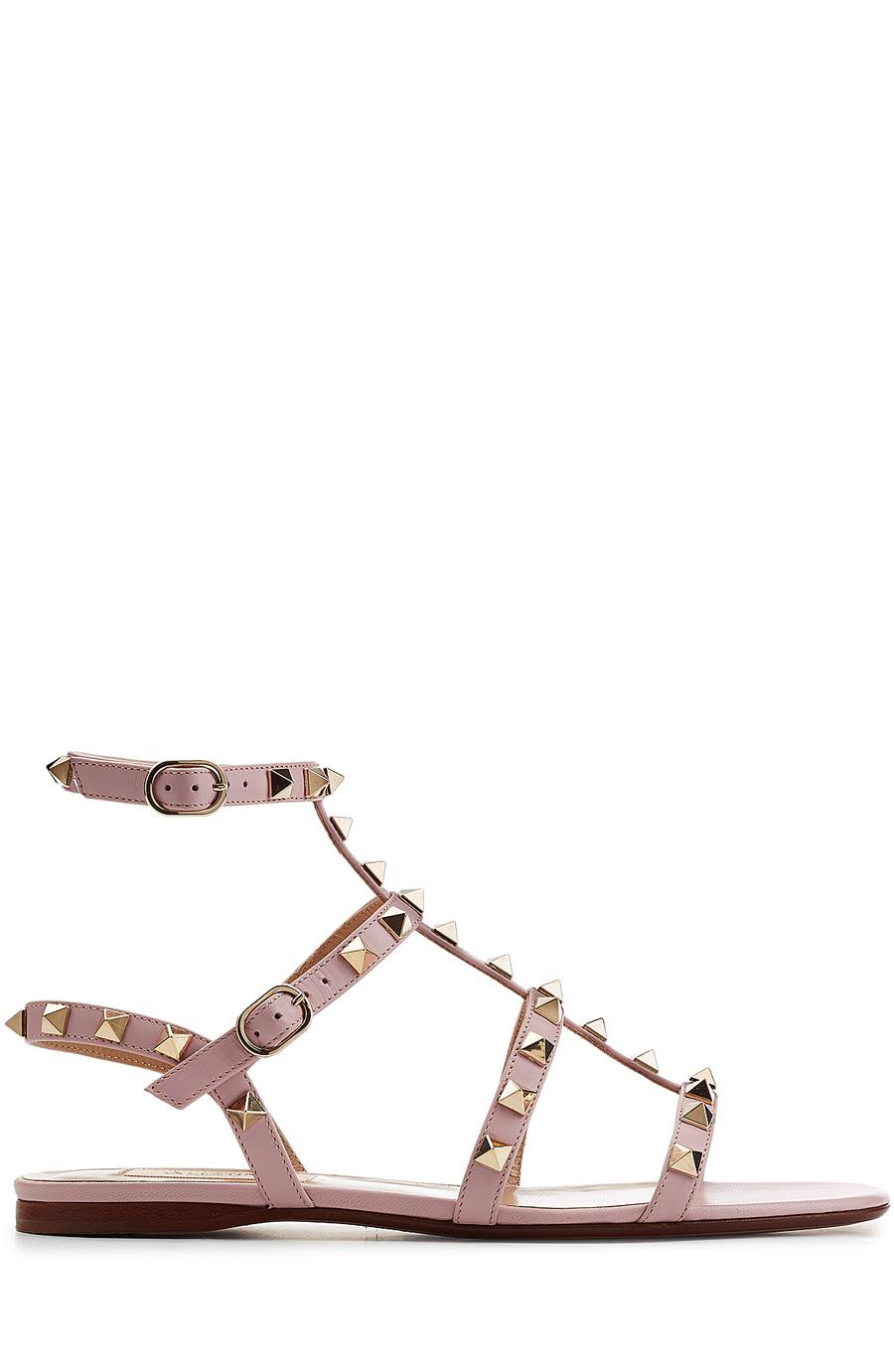aaf30c70f8cb9 Valentino Rockstud Flat Leather Sandals In Khaki