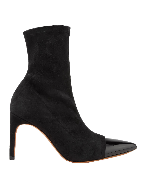Givenchy Graphic Patent Leather-trimmed Suede Sock Boots In Black