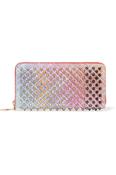 115d9787d61 Panettone Spiked Metallic Suede Continental Wallet in Pink