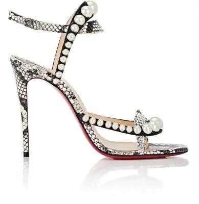 pretty nice 43778 15c09 Galeria Ornament Genuine Snakeskin Sandal in Silver
