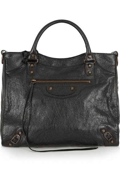 Balenciaga Classic City Graffiti Leather Shoulder Bag In Black