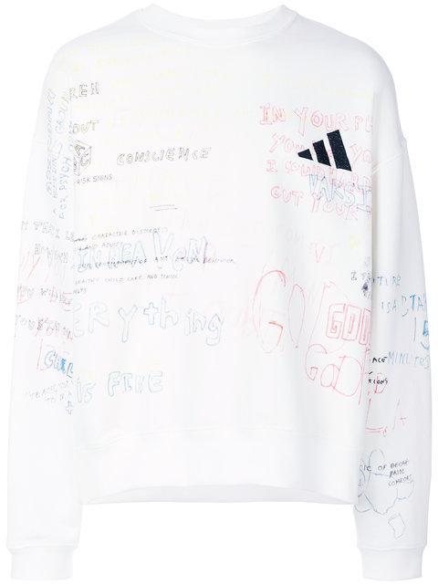 Adidas In Cotton Printedamp; Sweatshirt Yeezy Logo NeutralsModesens Yyf67bgv