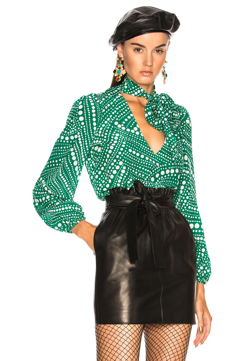 fe75814cfc7b6 Rixo London Kate Printed Silk Crepe De Chine Blouse In Green ...