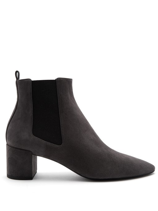 Saint Laurent Loulou Suede Chelsea Boots In Peppercorn-Grey