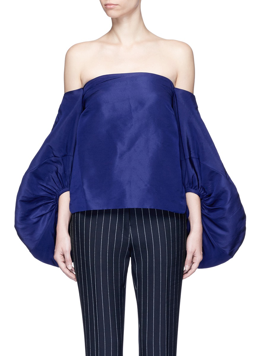 247aa034cb8b25 Rosie Assoulin Balloon Sleeve Silk Faille Off-Shoulder Top