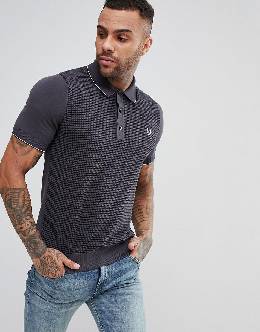 631547f8 Fred Perry Textured Knitted Polo Shirt In Gray - Gray | ModeSens