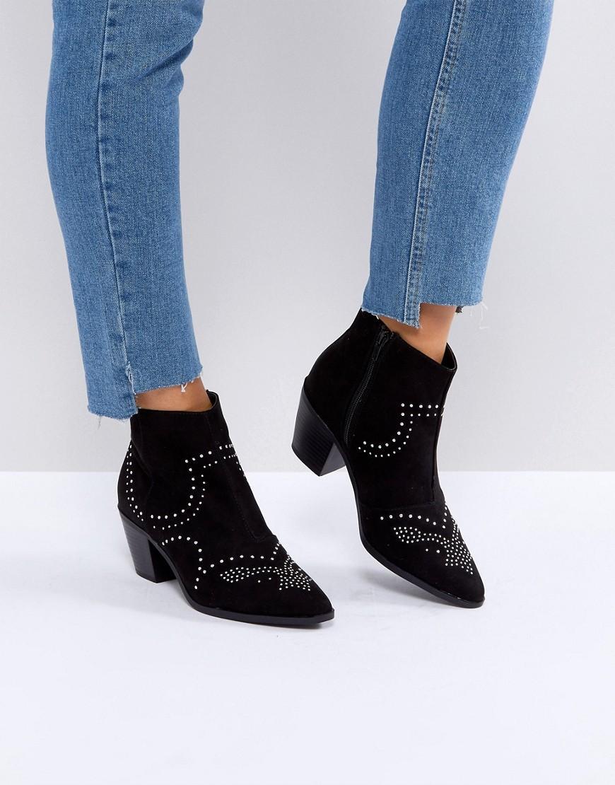 47213805405 Studded Western Block Heel Ankle Boot - Black