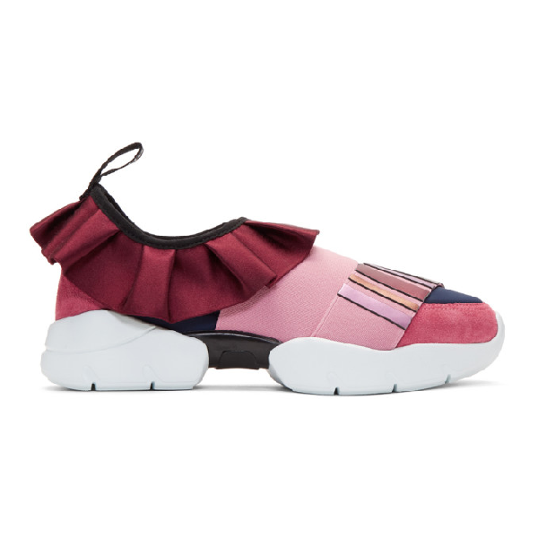 watch 2d0dc 6e55d Emilio Pucci Pink And Navy Metallic Ruffle Sneakers in A06 Burgund