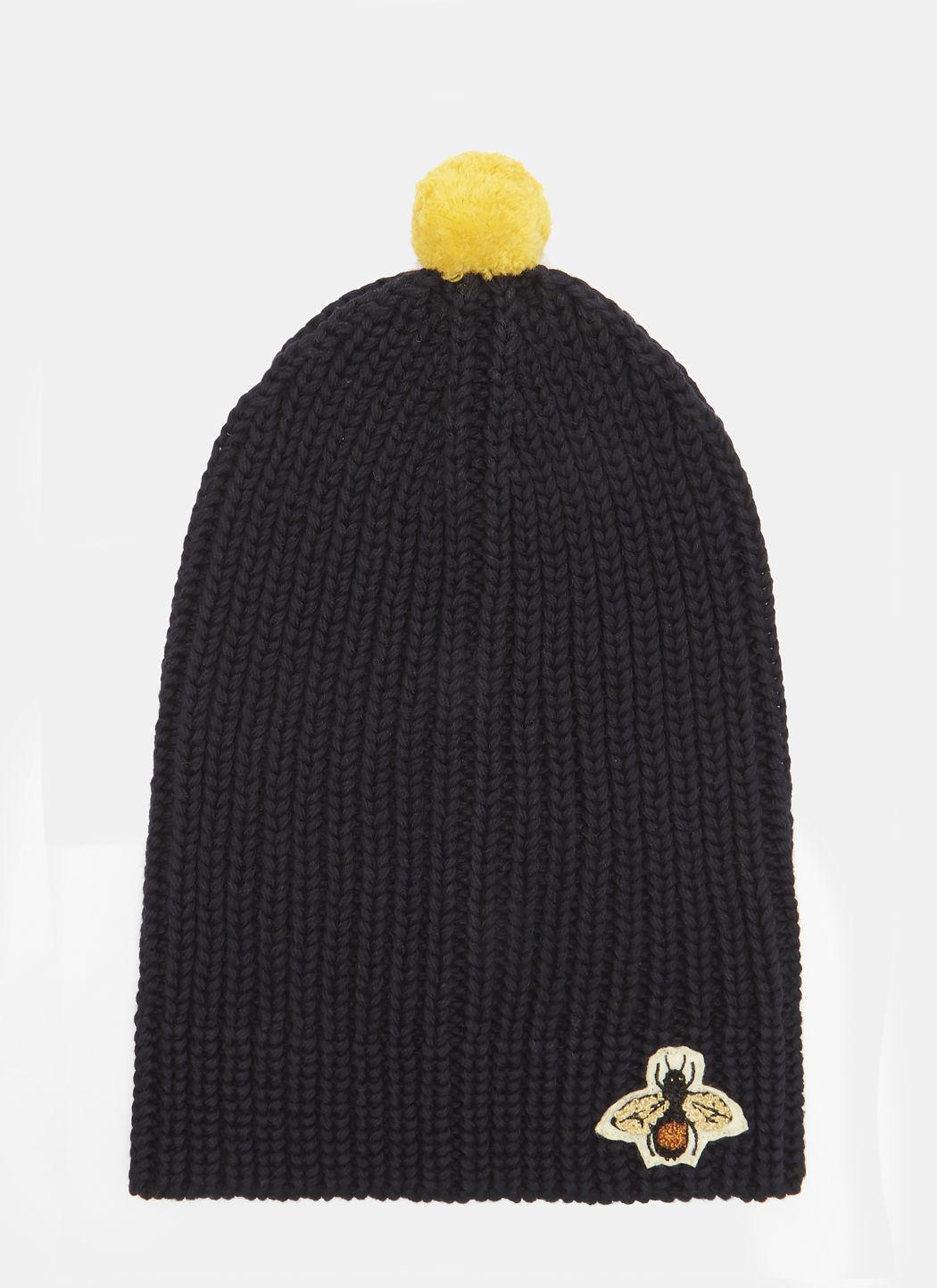 788fe68d Gucci Bee Embroidered Ribbed Bobble Hat In Navy In Blue | ModeSens