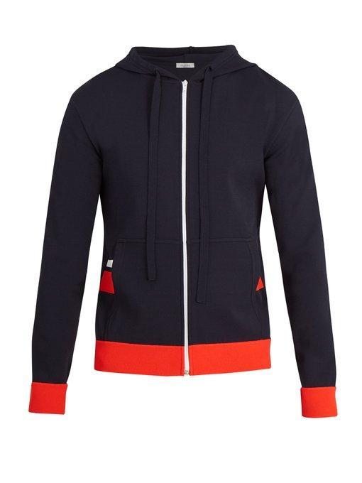 Valentino Hooded Stripe-AppliquÉ Jersey Zip-Up Sweatshirt In Navy