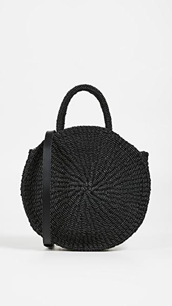 Clare V Petite Alice Straw Bag - Black