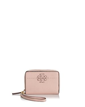 353f76de6a Tory Burch Mcgraw Leather Bifold Wallet In Pink Quartz/Gold   ModeSens