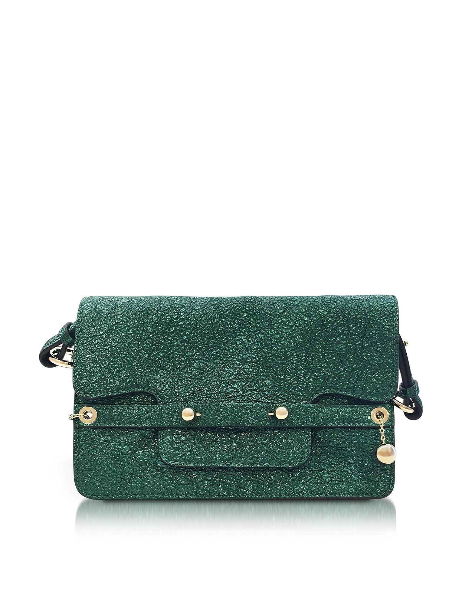 Red Valentino Dark Green Crackled Metallic Leather Flap Top Crossbody Bag