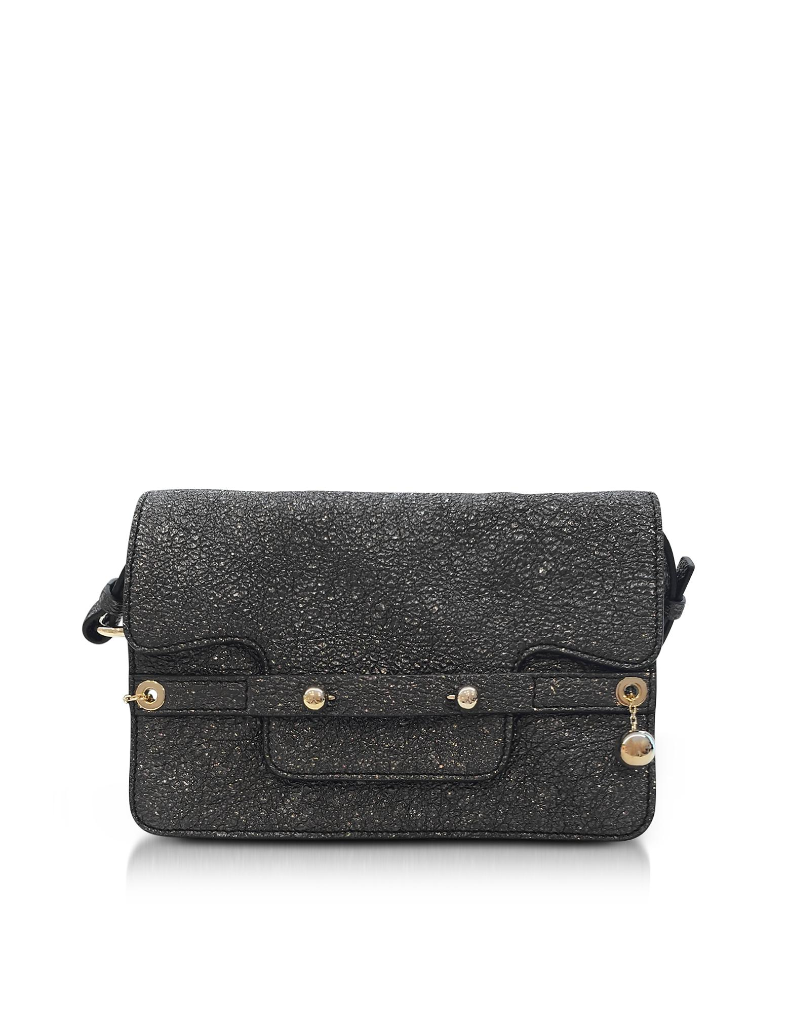 Red Valentino Gunmetal Crackled Metallic Leather Flap Top Crossbody Bag
