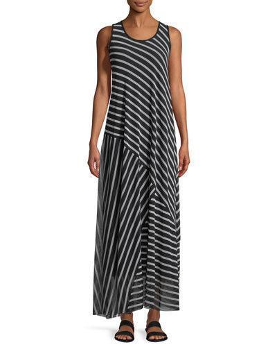 Fuzzi Striped Patch Sleeveless Maxi Dress In Black