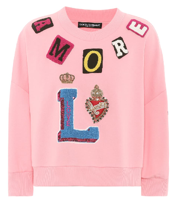 Dolce & Gabbana Embellished Cotton Sweatshirt In Pink