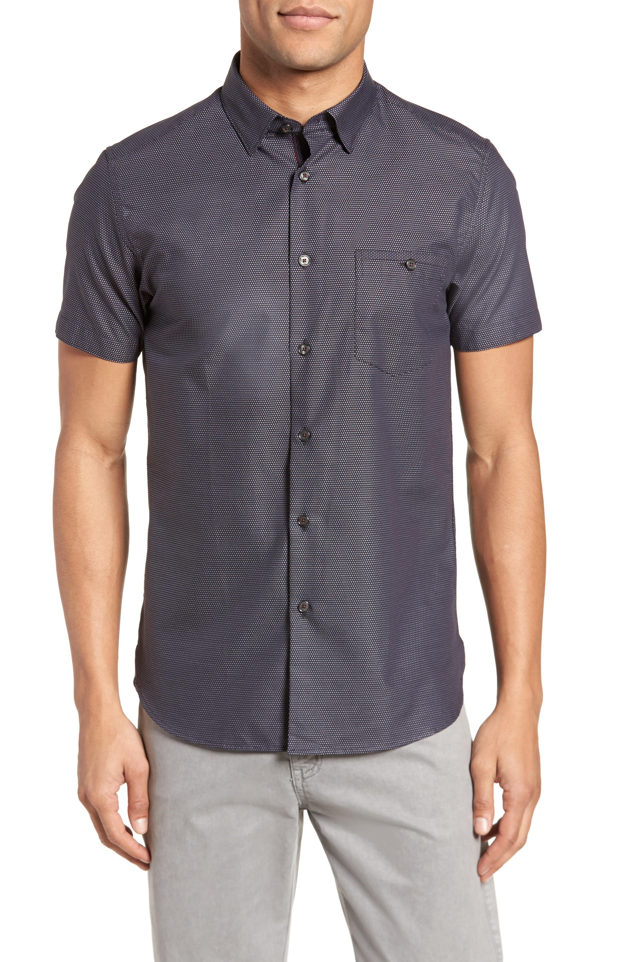 7935fed48f8460 ... dot grid defines a laid-back sport shirt cut from breezy cotton and  fitted with lustrous contrast buttons. Style Name  Ted Baker London Dotdots Trim  Fit ...