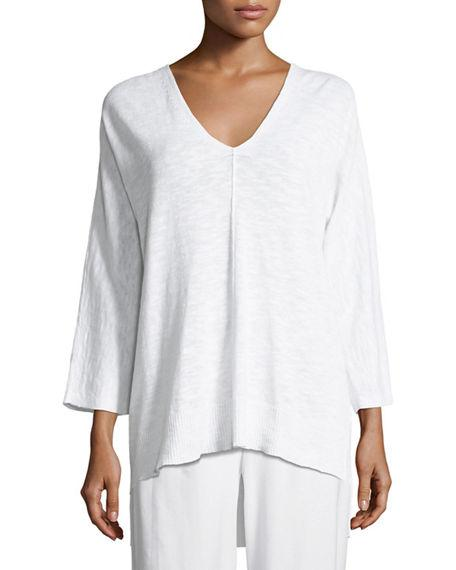 d415b27074f72 Eileen Fisher 3 4-Sleeve Slub Knit V-Neck Top
